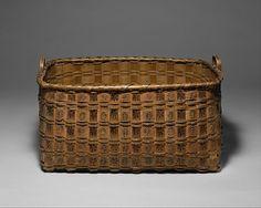 Basket | Date: ca. 1850 | Geography: United States, Connecticut | Culture: Quinnipiac (?) | Medium: Brown ash splint, wood, pigment