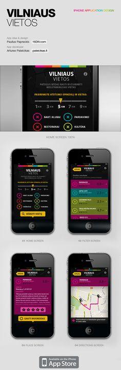Excellent palette on black  Vilniaus Vietos iPhone application by Paulius Papreckis, via Behance