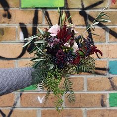 Moody and wild bridesmaid bouquet Our Wedding, Wedding Ideas, Melbourne Wedding, Bridesmaid Bouquet, Bouquets, Florals, Christmas Wreaths, Holiday Decor, Floral
