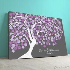 Wedding Guest Book / Guestbook Tree | Gallery Wrapped Canvas | Sakura | Cherry Blossom Tree | Peachwik | Wedding Colors: grey, purple, lavender