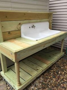 Farm Sink turned in to a backyard potting bench. (My hubby is superb) by kr. , Farm Sink turned in to a backyard potting bench. (My hubby is superb) by kr. Farm Sink turned in to a backyard potting bench. (My hubby . Potting Bench With Sink, Potting Tables, Farm Tables, Outside Sink, Outdoor Sinks, Outdoor Garden Sink, Old Sink, Potting Sheds, Farm Sink