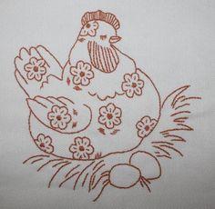 Redwork daisy chicken
