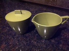 Avocado Green ALLIED CHEMICAL Sugar Bowl and by maggiecastillo, $7.50