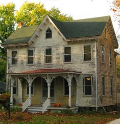 I love old homes, I grew up in one! I dont love that they use oil for heat and the windows leak and roof needs replacement...the list goes on! lol BUT in my dreamland none of that matters and Id love to swing on this front porch <3