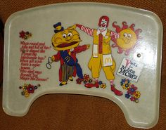 Old school Micky D's highchair tray-- I remember these, and the little pack of character cookies