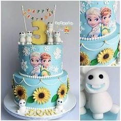 Bolo Frozen, a pedidos. Frozen Fever Cake, Festa Frozen Fever, Frozen Theme, Frozen Cake, Bolo Frozen, Anna Frozen, Pastel Frozen, Disney Frozen, Frozen 3rd Birthday