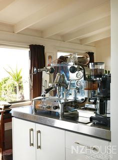 Martin's pride and joy is a 1964 Faema Espresso machine, which was hand-built in Italy and date-stamped. Martin's is stamped Nice Kitchen, Kitchen Dining, Espresso Cafe, Coffee Machines, Barista, Wine Recipes, Dining Rooms, Cool Kitchens, Coffee Maker