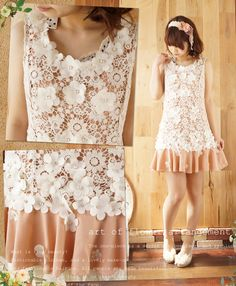 White lace flowers mori girl style