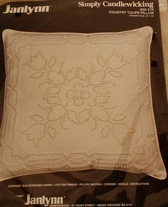 janlynn Simple Candlewicking Country Tulips Pillow 50-838