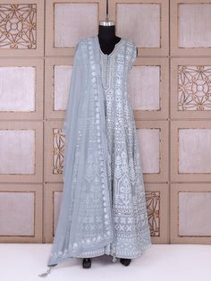 Shop Grey color party wear silk fabric anarkali suit online from India. Lucknowi Suits, Chikankari Suits, Indian Gowns, Indian Attire, Ethnic Outfits, Indian Outfits, Traditional Fashion, Traditional Dresses, Salwar Suits Party Wear