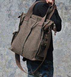 Black / Coffee Canvas Tote Men's Bag