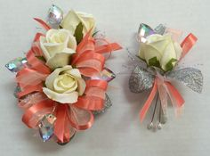 Coral and silver prom corsage. Made by Lets Dance Garters