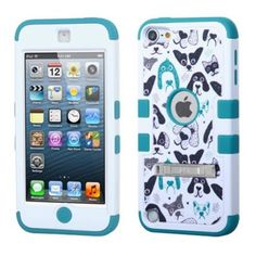Insten Tuff Cutedogs Hard Dual Layer Rubber Silicone Case w/stand For Apple iPod Touch 6th 5th Generation - Black/White