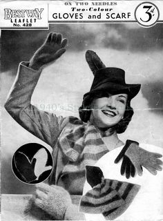 1940's Style For You: Free Knitting Pattern - 1940's scarf and gloves set - Bestway 428