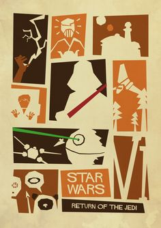 Saul Bass Inspired STAR WARS Fan-art Trilogy Poster - Return of the Jedi - artist unknown