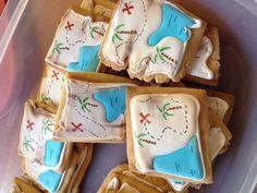 Royal icing sugar cookies. Treasure map cookies. Biscuit Cookies, Fun Cookies, Sugar Cookies, Decorated Cookies, Pirate Cookies, Sugar Cookie Royal Icing, Treasure Maps, Baby Shower Cookies, Cakes For Boys
