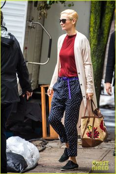 T.S. in casual mode and polka dot trousers ... (image from just jared)