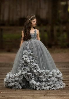 Callista Gown in Grey by Anna Triant Couture - Kids gown - Girls Pageant Dresses, Gowns For Girls, Pageant Gowns, Dresses Kids Girl, Cute Dresses, Girl Outfits, Party Gowns, Dressy Dresses, Prom Party