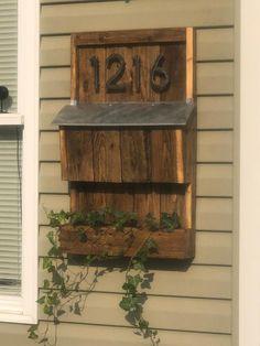 Mailbox On House, Porch Mailbox, Mailbox Planter, Wooden Mailbox, Vintage Mailbox, Diy Mailbox, House Front Porch, Wall Mount Mailbox, Wooden Diy