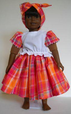 "Fit 18"" American Girl or Heidi Ott doll Caribbean Jamaica clothes F COSTUME ONLY #Handmade"