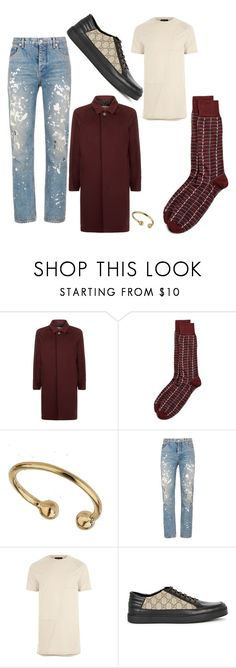 """""""Androgynous"""" by xox-holic ❤ liked on Polyvore featuring Burberry, The Men's Store, Miss Selfridge, Helmut Lang, River Island, Gucci, men's fashion and menswear"""