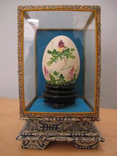 Vintage Hand Painted Chinese Egg In Glass Box; So Sylvie Etsy