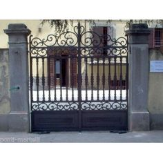 Wrought Iron Driveway Gate. Customize Realisations. 058 Wrought Iron Driveway Gates, Driveway Fence, Main Gate, Iron Art, Entrance Gates, Gate Design, Garden Gates, Building Design, Sweet Home