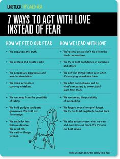 Unstuck Tip Card - How to act with love instead of fear Do the good/hard things…