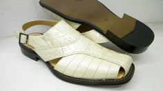 Roberto Chillini Men Cream Lizard and Croc Print Dress Sandals 6099