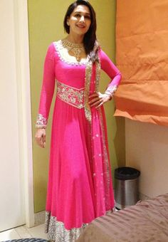 #Madhuri Special Pink Party #Anarkali #Dress Shop Now ▶ http://www.fashion4style.com/woman/clothing/bollywood-replica/madhuri-special-party-dress/pid=NzI=