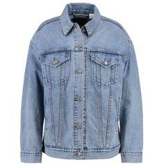 Levi's BAGGY TRUCKER Denim jacket (1 065 SEK) via Polyvore featuring outerwear, jackets, baggy jackets, blue jean jacket, baggy jean jacket, blue denim jacket and denim jacket