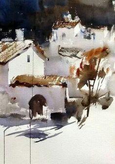 Watercolor Architecture, Watercolor Landscape, Abstract Landscape, Art And Architecture, Landscape Paintings, Landscapes, Watercolor Projects, Watercolor Sketch, Watercolour Painting