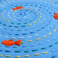 Mindfulness Embroidery Kit Relaxing Project DIY Craft Kit Fish Pond Hoop Art Gift For Her Learn to Sew Hand Embroidery Set DIY Gift sticken Sashiko Embroidery, Hand Embroidery Stitches, Hand Embroidery Designs, Embroidery Art, Simple Embroidery, Ribbon Embroidery, Hand Stitching, Embroidery For Beginners, Embroidery Techniques