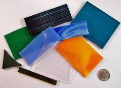 1/4lb Opal, Transparent and Iridescent Mix 90 COE Fusible Scrap Assortment #BullseyeUroboro