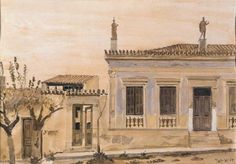House in Lavrio with statues, Yiannis Tsarouchis Old Greek, Greek Art, Three Story House, Greek Paintings, Dance Art, Neoclassical, Conceptual Art, Mykonos, Amazing Art