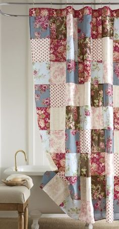 Natasha Oversized Quilt, Sham and Shower Curtain Natasha Oversized Quilt, Sham and Shower Curtain fr Patchwork Curtains, Colorful Curtains, Diy Curtains, Shabby Chic Shower Curtain, Flower Shower Curtain, Cortinas Country, Western Curtains, Ranch Decor, Beautiful Curtains