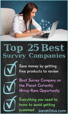 Top 25 best survey companies to make money from home with. I've been taking surveys to make money for the past 10+ years. These are the BEST!