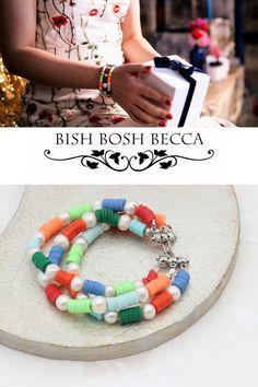Fun rainbow bead bracelets. These 3 stranded layer bracelets create instant boho stacking bracelets.#jewellery #bracelet #colourful #beaded #boho #colours #rainbow #beads #summer #fun Stacking Bracelets, Layered Bracelets, Beaded Bracelets, New Jewellery Design, Seashell Necklace, Summer Jewelry, Becca, Handmade Necklaces, Pearl White