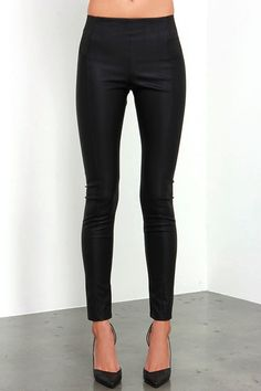 Sandra Dee kicked her style up a notch and so can you! The Glamorous Greased Lightnin' Black Vegan Leather Pants are made of chic vegan leather (with a bit of stretch) that shape a high waistline with elastic panels at the hips for an easy and comfy fit. Tapered pant legs have a fitted silhouette that is sure to be an attention grabber!