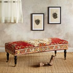 """SAMSUN TURKISH CARPET BENCH--Inspired recycling of vintage wool, hand-knotted carpets from Turkey results in a one-of-a-kind bench that adds unique beauty, heritage charm and cushioned comfort to your entry, dining room or other places in your home. Handcrafted wood base made in USA. 20""""W x 57""""L x 18""""H."""