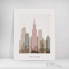 Chicago map art print skyline