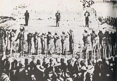 The execution of Emperor Maximilian, Mr Miramón and Mr Mejía. The first photographed execution by firing squad, Mexico, June 19, 1867