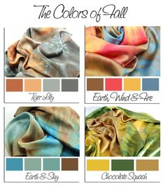 The Colors of FALL.Hand Dyed Silk Charmeuse Scarf, choose your palette How To Tie Dye, How To Dye Fabric, Color Combos, Color Schemes, Color Type, Tie Dye Crafts, Tie Dye Techniques, Tie Dye Colors, Tie Dye Shirts