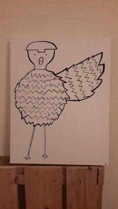 Tableau oiseau noir et blanc