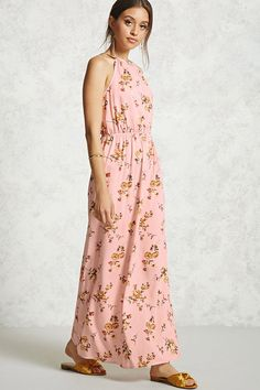 """FOREVER 21+ Floral Print Maxi Dress $15.90 Details Style Deals - A woven maxi dress featuring an allover floral print, a high square neckline, adjustable cami straps with a self-tie back cutout, and an elasticized waist. Content + Care - 100% rayon - Hand wash cold - Made in China Size + Fit - Model is 5'11"""" and wearing a Small - Bust to hem: 56"""" - Chest: 34"""" - Waist: 24"""". Afflink."""