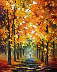 The Gold of Fall — PALETTE KNIFE Landscape Oil Painting On Canvas By Leonid Afremov #AfremovArtStudio #afremov #art #painting #fineart #stunning