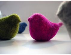 colorful felted birds  ~  I love the simplicity