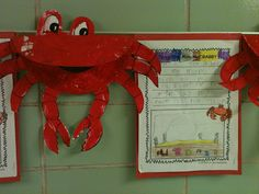 Crab craft and FREE crab themed writing template