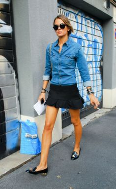 How to Style Chambray Shirts with Skirt
