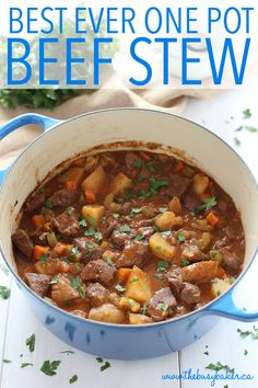 Business Cookware Ought To Be Sturdy And Sensible This Best Ever One Pot Beef Stew Is An Easy, Classic Beef Stew Recipe That Cooks To Perfection On The Stove Top And In The Oven. It's The Best Comfort Food Recipe From Thebusybaker. Stew Meat Recipes, Beef Recipes For Dinner, Cooker Recipes, Recipe Stew, Stewing Beef Recipes, Easy Stew Recipes, Fast Recipes, Recipe Recipe, Dutch Oven Recipes
